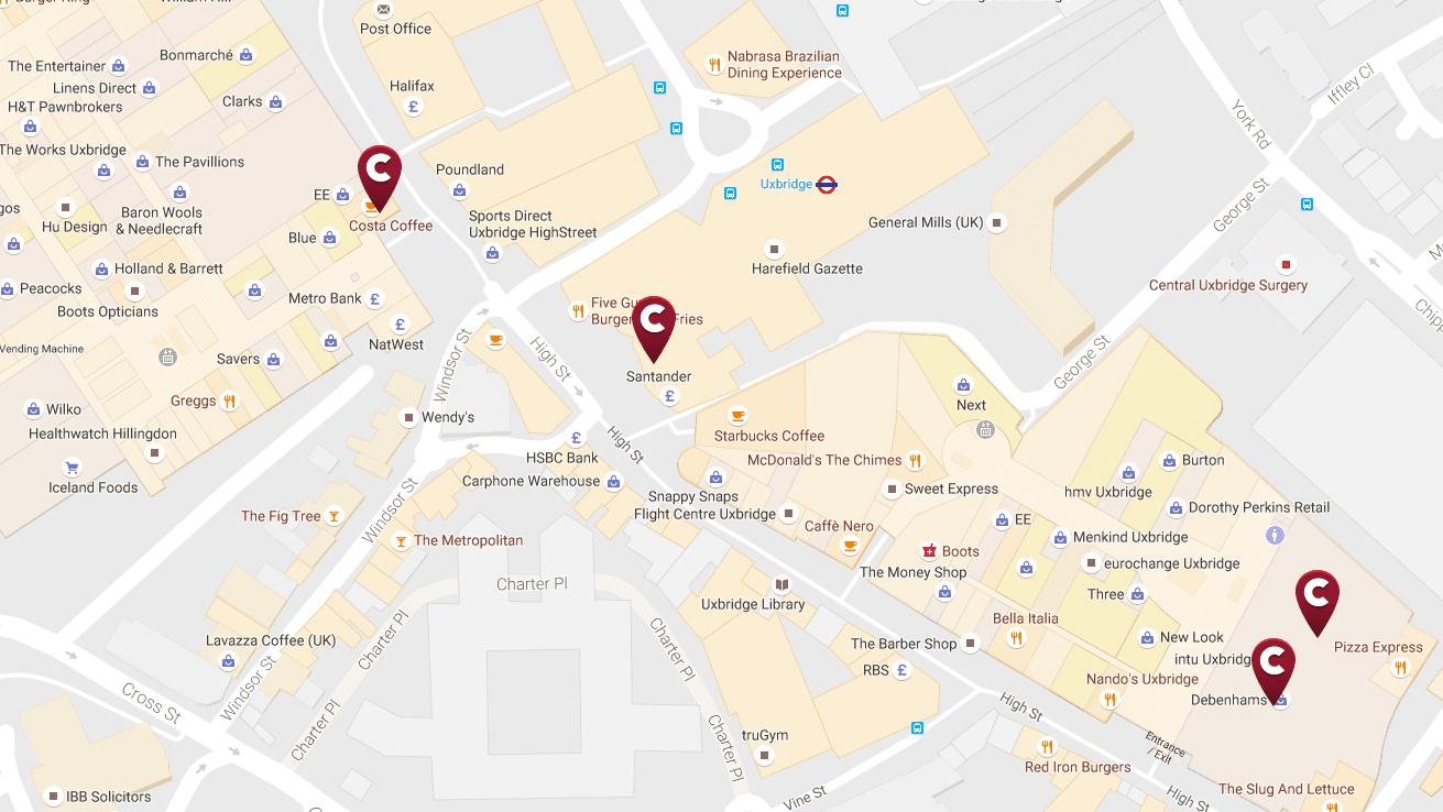 Map of Costa coffee locations in Uxbridge