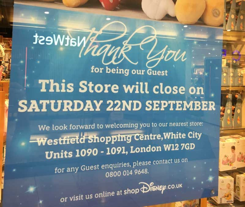 Disney Store Closing Sign