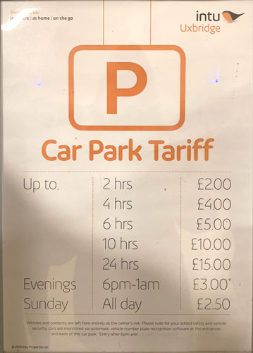 intu parking charges and tariffs