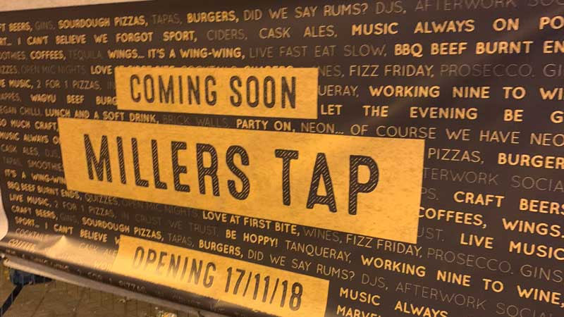 Millers Tap Opening Banner
